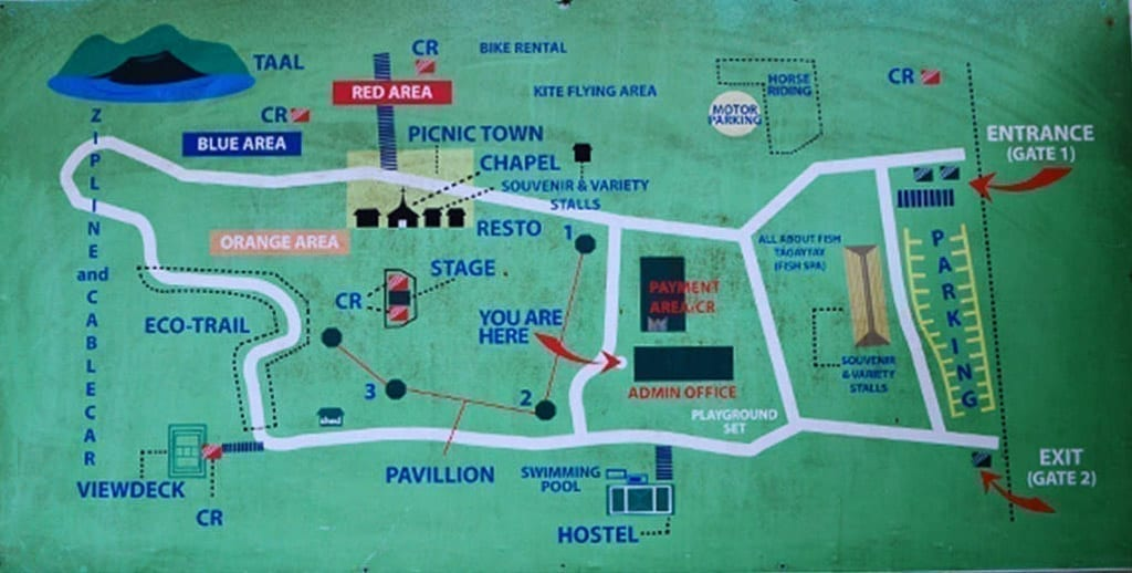 Picnic grove map of the amenities